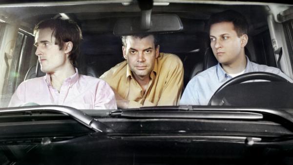 Battles' second album, <em>Gloss Drop</em>, is its first as a trio. Left to right: Ian Cohen (guitar, keyboards), John Stanier (drums), Dave Konopka (bass, guitar, effects).