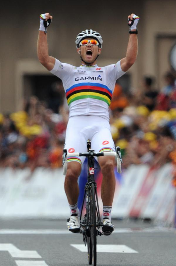 Norway's Thor Hushovd celebrates his stage win at the finish line.