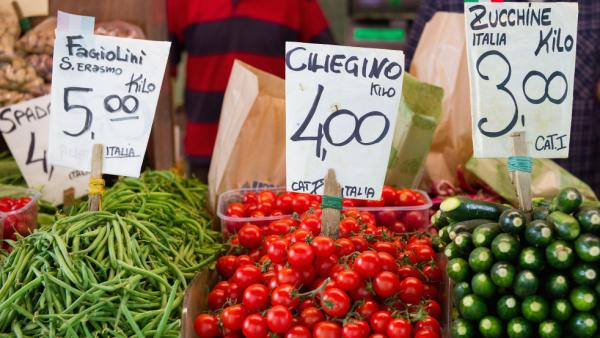 Even in Italy, healthy peasant fare like the fresh vegetables and fruits at this market stall in Venice isn't cheap, leading many there to abandon the famously healthful Mediterranean diet.