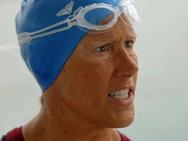 Diana Nyad is seen here speaking with one of her staff prior to a training swim on July 5, off the coast of Key West, Fla.