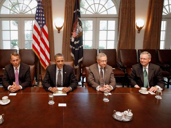 President Obama and Congressional leaders work to strike a deal to raise the debt limit at the White House July 14, 2011.
