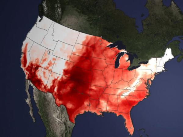 A heat wave has brought temperatures well into the 90s and 100s for half the country, as seen in this heat map from NOAA.