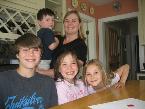 Sarah Bullard with her four children, Liam, Fay, Olivia and Joshua.