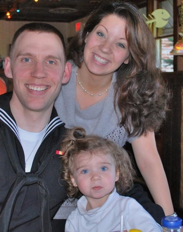 Justin Bock with his wife, Ashley, and their daughter, Lina.
