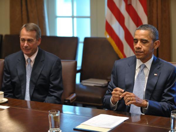 President Obama and House Speaker John Boehner at a White House meeting, July 13, 2011.