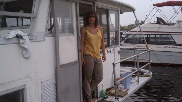 Constance Hockaday on the deck of one of her floating hotels at Marina 59 in Jamaica Bay, Queens.