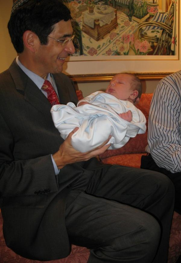 Dr. Steven Adashek,a mohel, performed Bram's bris. He administered a local anesthetic to the baby boy.