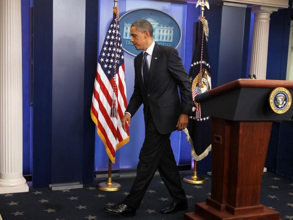 President Obama leaves the White House press briefing room after discussing the breakdown in debt-ceiling talks with Speaker John Boehner, July 22, 2011.
