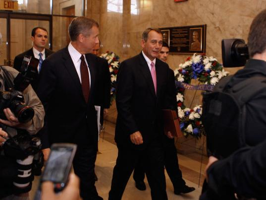 Speaker of the House John Boehner as he arrived for a House GOP caucus meeting at the U.S. Capitol on July 27, 2011.