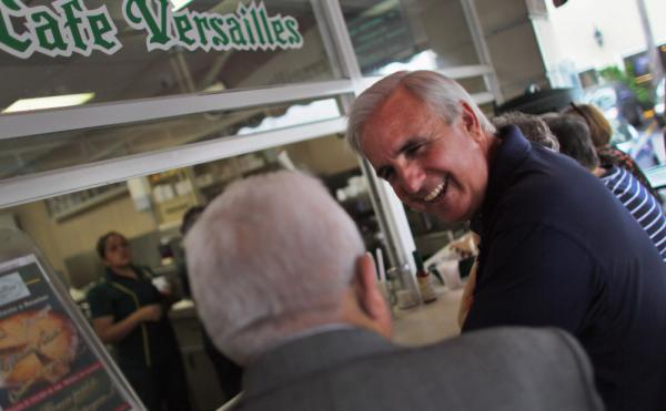Carlos Gimenez, shown at a cafe earlier this year on Election Day, won a recall election that was part of a national wave of voter anger over taxes.