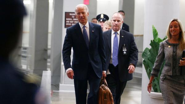 Vice President Biden walks through the Senate Subway on his way to meetings at the U.S. Capitol on Monday.