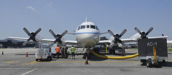 The P-3B NASA research aircraft, seen on the tarmac at Baltimore Washington International Airport on June 28, will gather data as it flies spirals over six ground stations in Maryland.