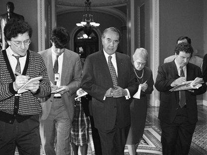 Senate Majority Leader Bob Dole on Capitol Hill on March 1, 1995 after he came up one vote short in his quest to pass a balanced budget amendment in the Senate.