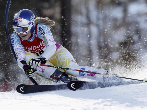 Lindsey Vonn, of the United States, speeds down the course during the first run of an alpine ski, World Cup women's giant slalom, in Arber-Zwiesel, Germany, Sunday, Feb. 6, 2011. Defending champion Vonn finished outside the top 10.