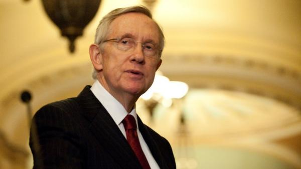 Senate Majority Leader Harry Reid speaks to the media after a meeting of Democratic senators Monday at the U.S. Capitol.