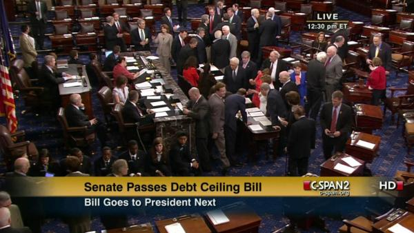 A screengrab of CSpan's coverage of the Senate vote.