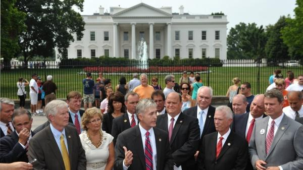 Rep. Trey Gowdy (C), R-SC, speaks as he and a group of freshmen Republican congressmen hold a news conference on the debt ceiling July 19 in front of the White House.