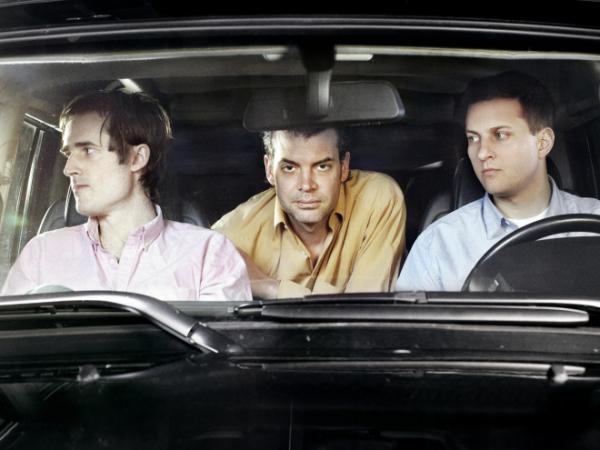 Battles' second album, <em>Gloss Drop</em>, is its first as a trio. Left to right: Ian Wiiliams (guitar, keyboards), John Stanier (drums), Dave Konopka (bass, guitar, effects).