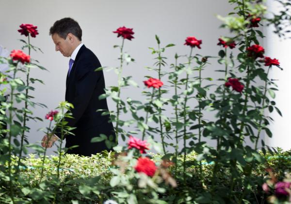 Secretary of the Treasury Timothy F. Geithner arrives before U.S. President Barack Obama makes a statement in the Rose Garden of the White House on August 2.