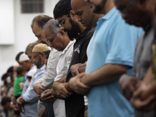 Muslims pray together on the evening of the first day of Ramadan at the Islamic Center of Greater Miami.