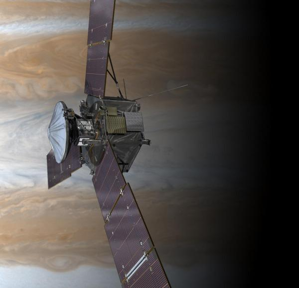 The Juno spacecraft, seen above Jupiter in this artist's rendering. Juno's primary mission is to improve our understanding of Jupiter's formation and evolution.