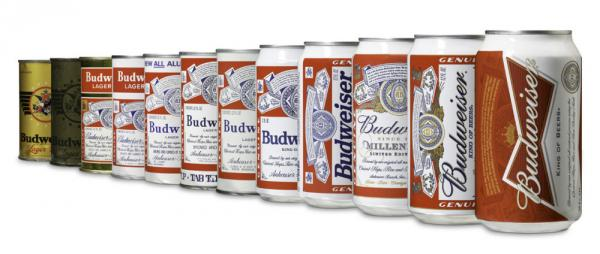 <strong>The 12 Cans Of Budweiser</strong>: Bud's new design (far right) emphasizes a bow tie. A 1940s version for soldiers (second from left) used olive drab, presumably to blend into combat situations.