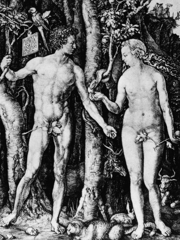 An engraving depicting Adam and Eve in the Garden of Eden, by Albrecht Durer, 15th century.
