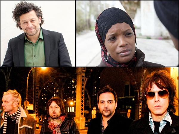 Clockwise from left to right: Andy Serkis, Ameena Matthews, Fountains of Wayne.