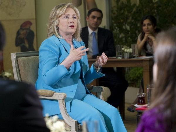 "U.S. Secretary of State Hillary Clinton answers on CNN-Turk, July 16, 2011. Clinton said that the United States was ""concerned"" about media freedom and free speech in Turkey amid the arrest of dozens of journalists and restrictions on the Internet."