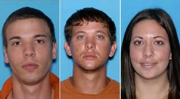 Ryan Edward Dougherty, Dylan Dougherty Stanley, and Lee Grace Dougherty are seen in a composite photo assembled from their drivers' license pictures.