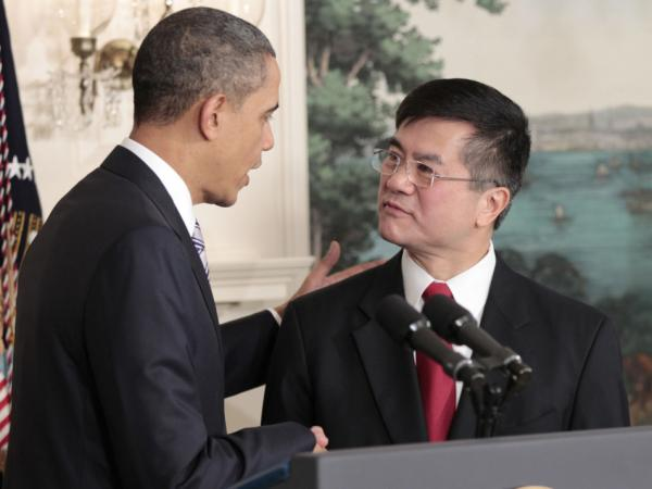 President Barack Obama, left, shakes hands Commerce Sec. Gary Locke, right, after announcing that Locke will be the next US ambassador to China, in the Diplomatic Room of the White House Wednesday, March, 9, 2011. Locke is replacing Jon Huntsman.