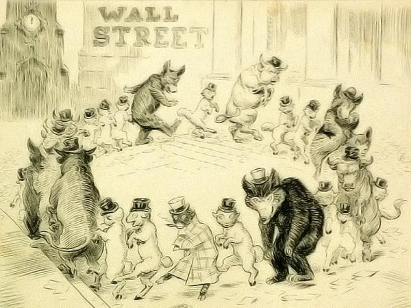 A vintage illustration of Wall Street, 1908
