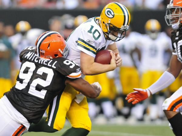 Green Bay Packers Quarterback Matt Flynn goes down hard during a preseason game vs. the Cleveland Browns on August 13. (Photo by Jason Miller/Getty Images)