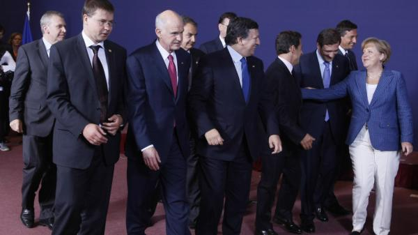 European leaders are shown here at an EU summit June 23 in Brussels, Belgium. The continent's economic crisis has helped bring down two governments so far this year and several are in danger of being ousted from power.