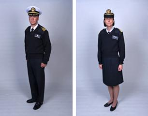 Service members model the Modified Service Dress Blue Sweater. The Commissioned Corps of the U.S. Public Health Service requires that members wear either the sweater or a windbreaker.