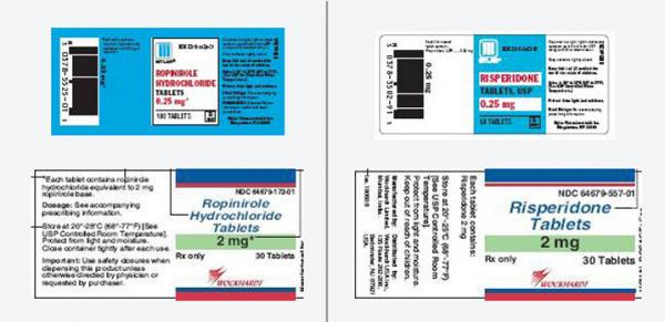 Risperidone (Risperdal), prescribed for  schizophrenia and bipolar  disorder, and ropinirole (Requip), used for  Parkinson's disease and  restless legs syndrome, have strikingly similar  labels.