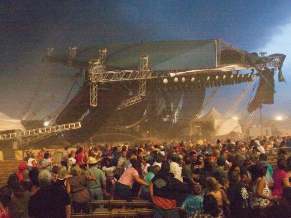 The stage collapses at the Indiana State Fair in Indianapolis on Aug. 13. The stage fell just before country duo Sugarland were scheduled to perform, killing at least four people and injuring as many as 40.