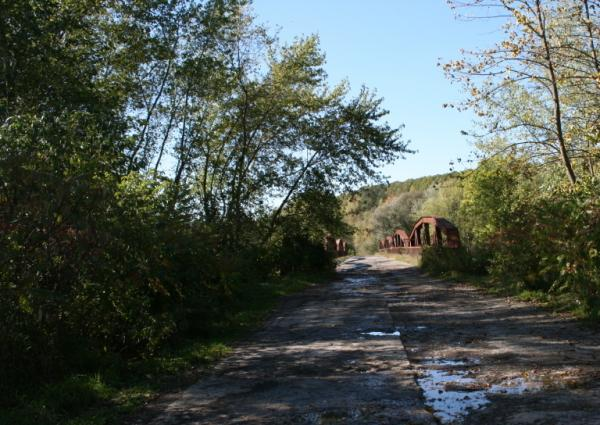 The old Red House bridge used to lead to vibrant Seneca communities. Today it's abandoned, a casualty of the Kinzua Dam project.