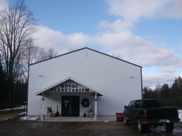 The  planetarium is housed in a warehouse structure in Frank Kovac's backyard. This  building is one of the few things here that Frank didn't build  alone.