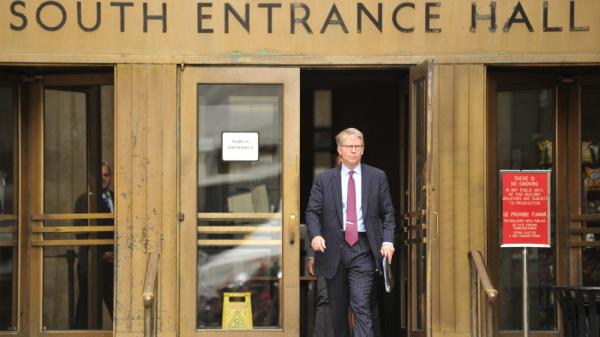 Manhattan District Attorney Cyrus R. Vance Jr. leaves court after a bail hearing was held for Dominique Strauss-Kahn.
