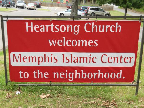 The welcome sign that stood in front of Heartsong Church.