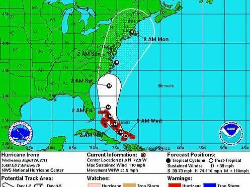 Irene's projected track.