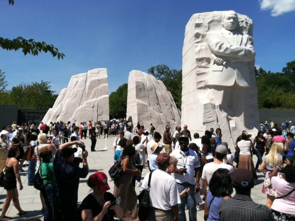 Countless members of the public visit the Martin Luther King, Jr. Memorial on Tuesday August 23, 2011.