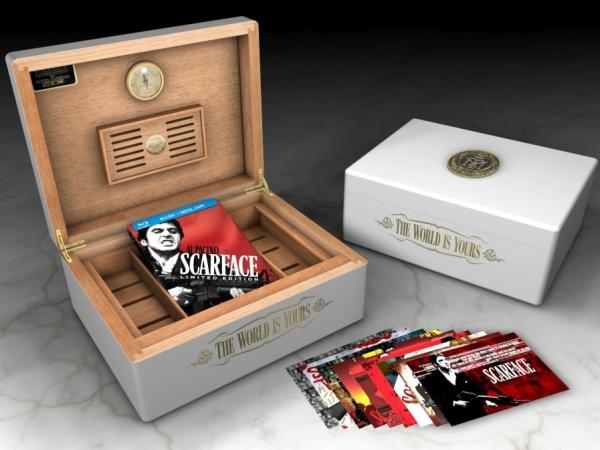Universal has released a metal-encased, blu-ray <em>Scarface Limited Edition Steelbook</em> and a <em>Scarface Limited Edition Humidor.</em>