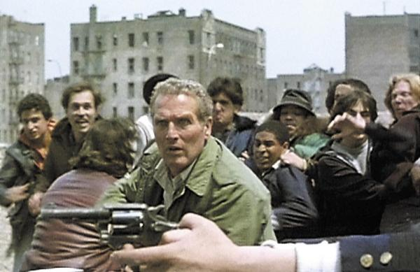 Paul Newman (center) as Murphy, a conflicted police officer, in the 1981 film <em>Fort Apache, The Bronx</em>.