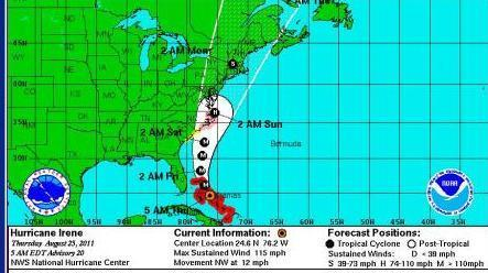 Irene's latest projected path.