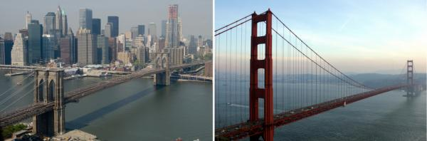 In the east, they'll sell you the Brooklyn Bridge. In the west, it's the Golden Gate.