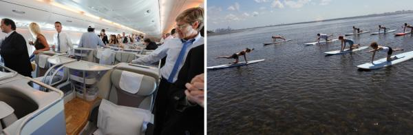 In the east, they aspire to business class. In the west, it's paddleboard yoga class.