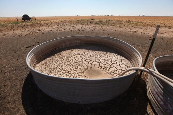 Cracked mud sits in the bottom of a water tank in a cow pasture near Tulia, Texas. In recent months, the state has experienced its driest weather since records were first kept, in 1895.