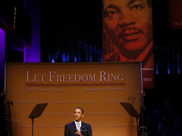 "President Obama delivers remarks at the ""Let Freedom Ring"" concert at the Kennedy Center on Jan. 18, 2010, in Washington, D.C."